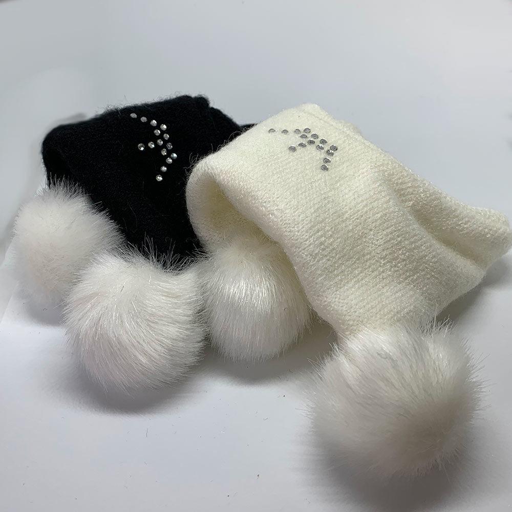 1220 - Шапки для собак с двумя помпонами