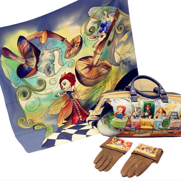 Комплект: Платок, перчатки и сумка