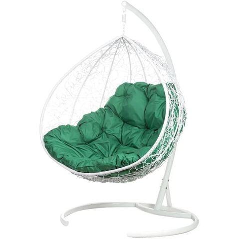 Двойное подвесное кресло Liverpool Twin White зеленая подушка