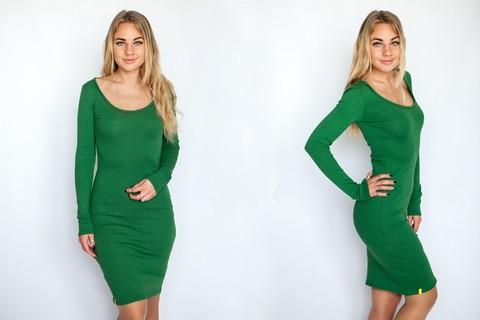 Платье с округлым вырезом зеленое