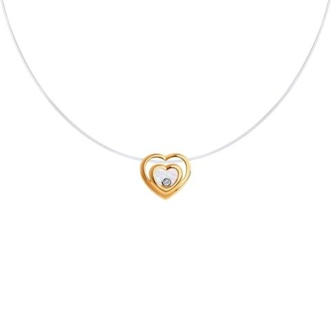 1070129 - Колье-леска невидимка из золота с бриллиантом и перламутром