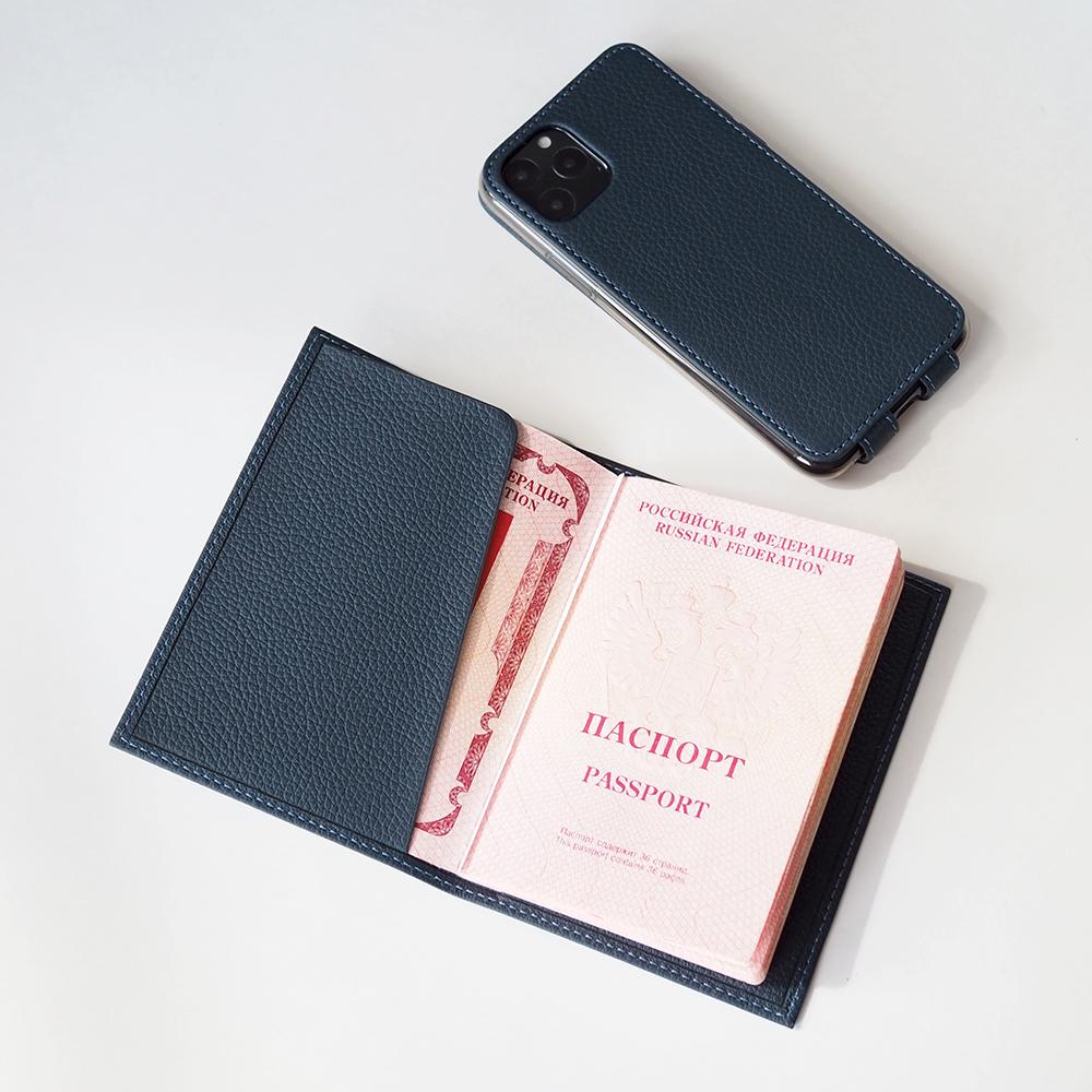 Обложка для паспорта и автодокументов Moscou Easy из натуральной кожи теленка, цвета синий мат