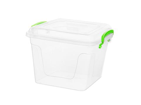 Контейнер для хранения Fresh Box 8,5 литров квадратный с крышкой прозрачный/салатовый Эльфпласт  22х27х25 см