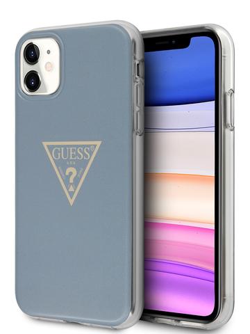 Чехол Guess Triangle для iPhone 11 | TPU принт лого светло-синий металлик
