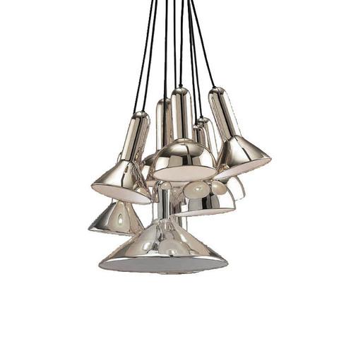 Подвесной светильник копия TORCH by Sylvain Willenz (серебряный, 10 плафонов)