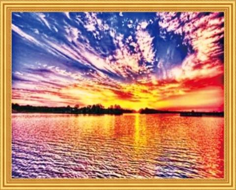 Алмазная Мозаика 50x65 Красочный закат над водой
