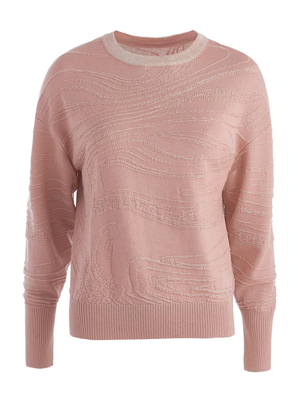 Женский джемпер бежево-розового цвета из шерсти и вискозы - фото 1