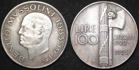 Жетон 100 лир 1945 года Италия Бенито Муссолини диктатор Дуче Рейх копия монеты посеребрение Копия