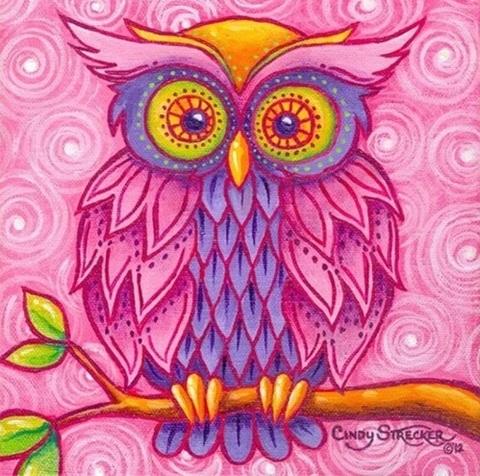 Алмазная Мозаика 20x20 Розовая совушка (арт. MM20599 )