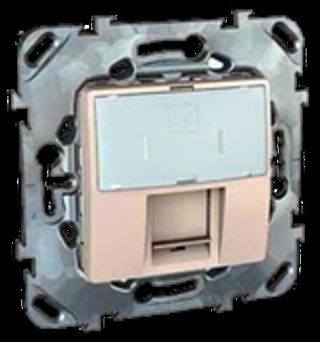 Розетка Компьютерная розетка 1хRJ45 кат. 6е. Цвет Бежевый. Schneider electric Unica. MGU5.425.25ZD