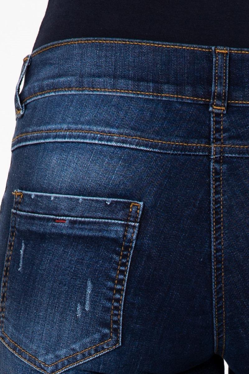 Фото джинсы для беременных MAMA`S FANTASY, зауженные, элементы потертости, средняя посадка, вставка от магазина СкороМама, синий, размеры.