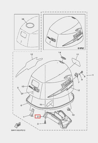 Воздуховод капота для лодочного мотора F20 Sea-PRO (1-2)