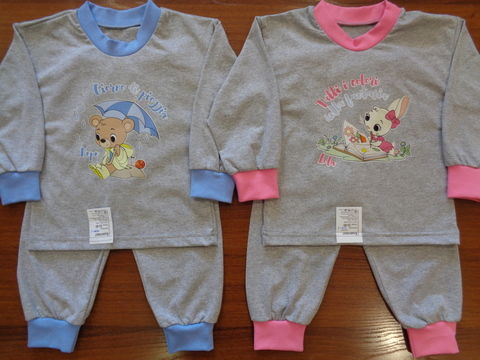 Пижама д/детей c аппликацией серая (кулир)