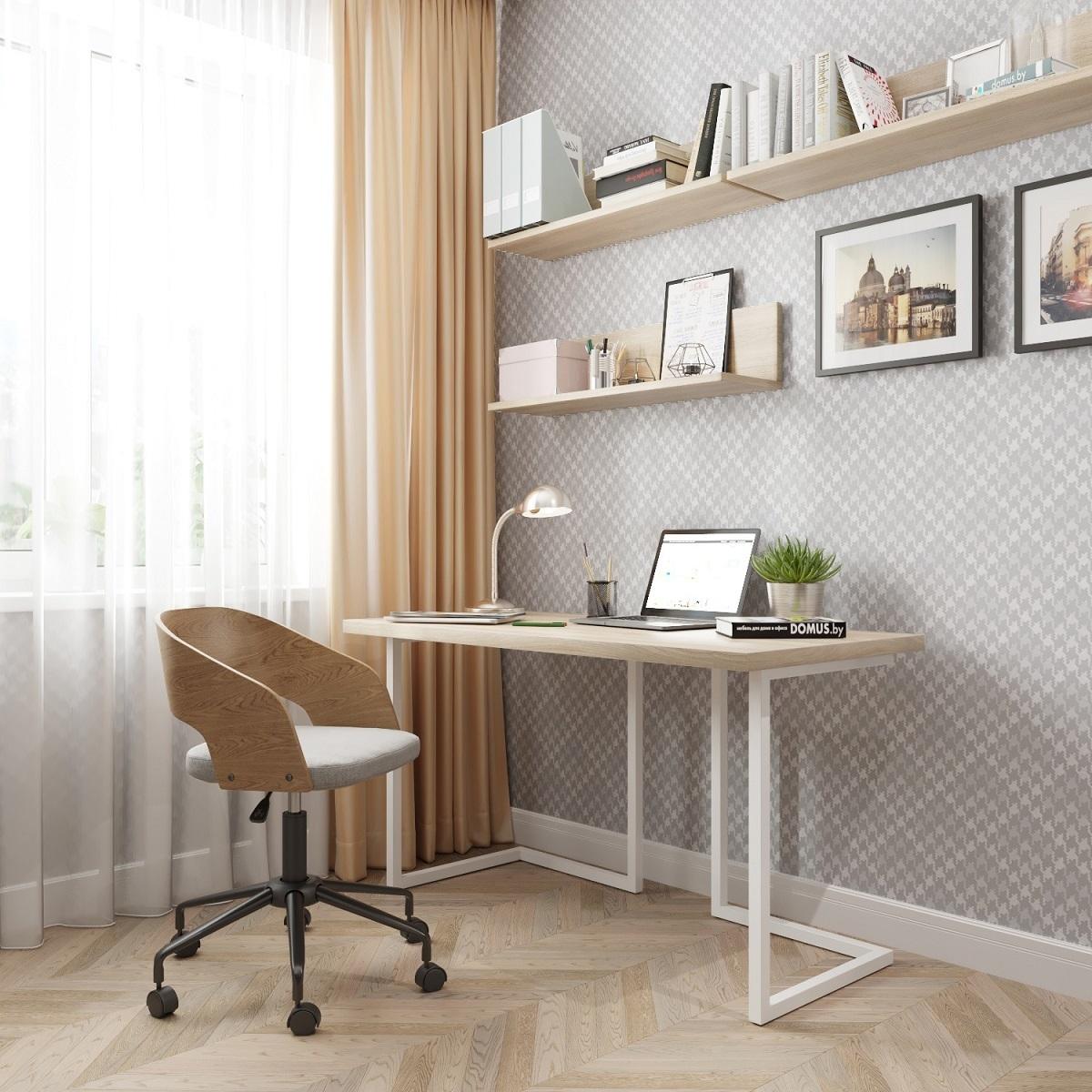 Письменный стол ДОМУС Урбан-1 вяз светлый/металл белый