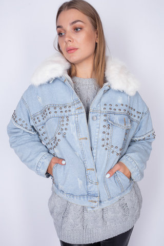 Джинсовая куртка с подстежкой из искусственного меха недорого