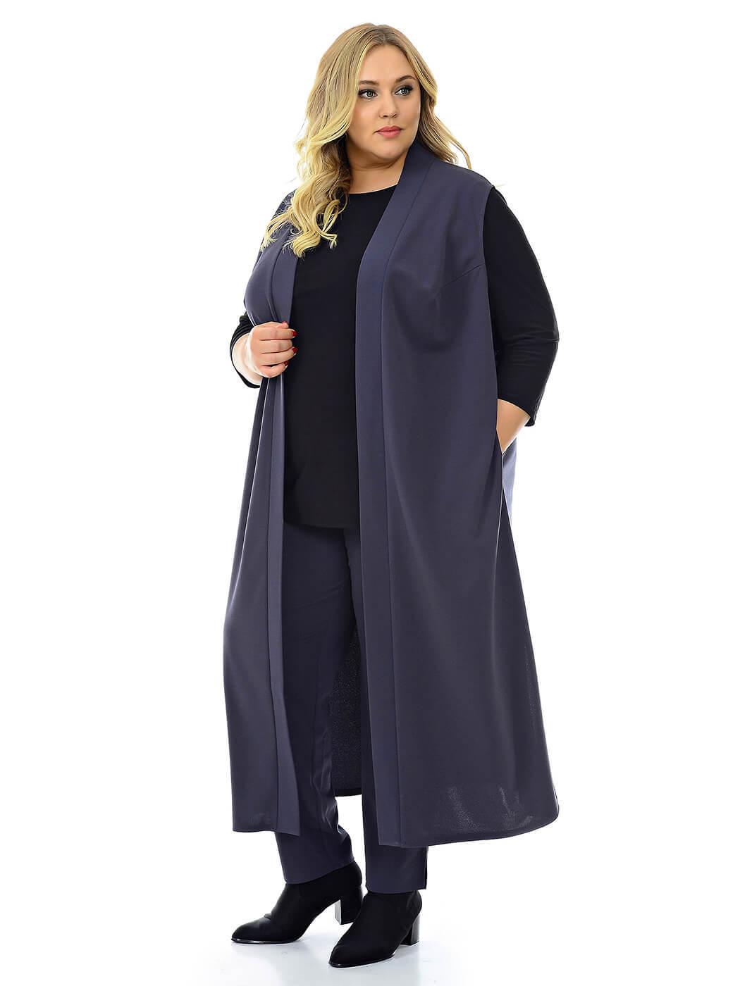 Длинный серый женский жилет 76 размера