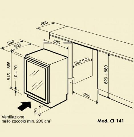 Встраиваемый винный шкаф IP Industrie CI 141 CF X