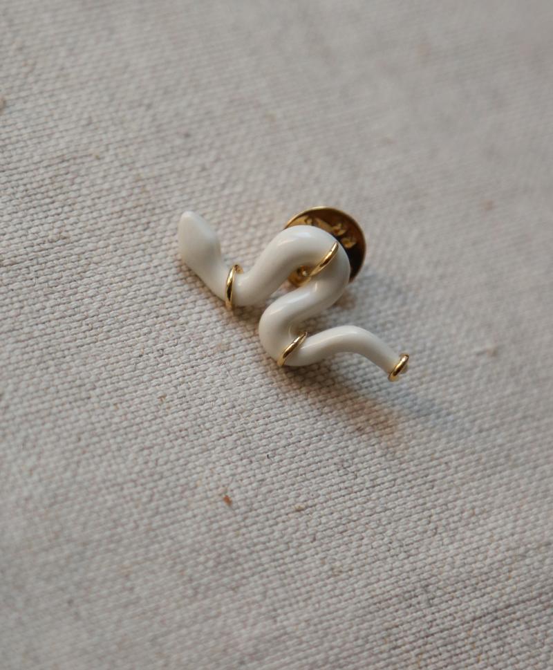 Брошь Serpent mini White