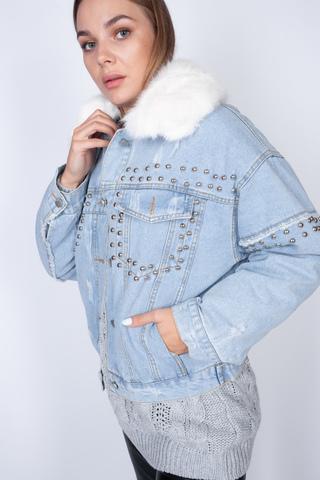 Джинсовая куртка с подстежкой из искусственного меха Nadya