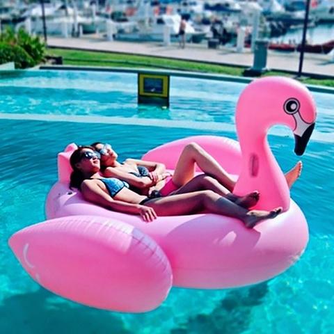 Надувной матрас розовый фламинго 192х180см