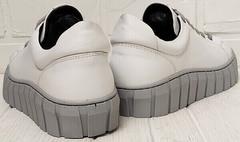 Кожаные кеды кроссовки белые женские Guero G146 508 04 White Gray.