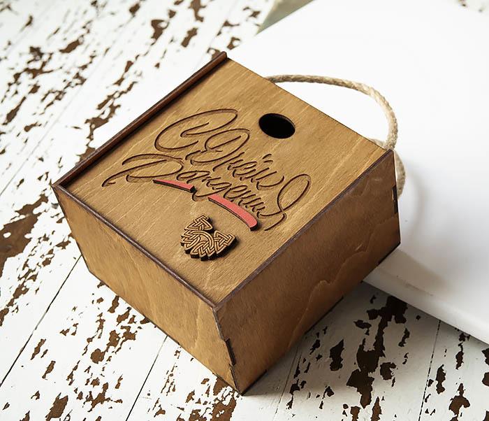 BOX226-2 Подарочная коробка «С Днем Рождения» с ручками (17*17*10 см) фото 03