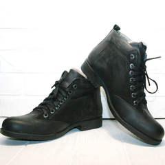 Зимние мужские ботинки на цигейке Luciano Bellini 6057-58K Black Leathers & Nubuk.