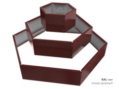 Клумба многоугольная оцинкованная Альпийская горка 3 яруса RAL 3009 Оксидно-красный