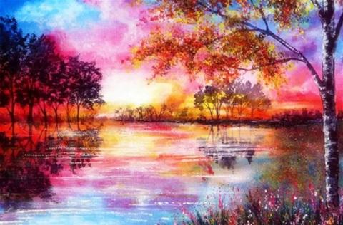 Алмазная Мозаика 50x65 Береза у озера в осенних красках