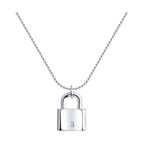 94070359 - Колье из серебра с подвеской Замок