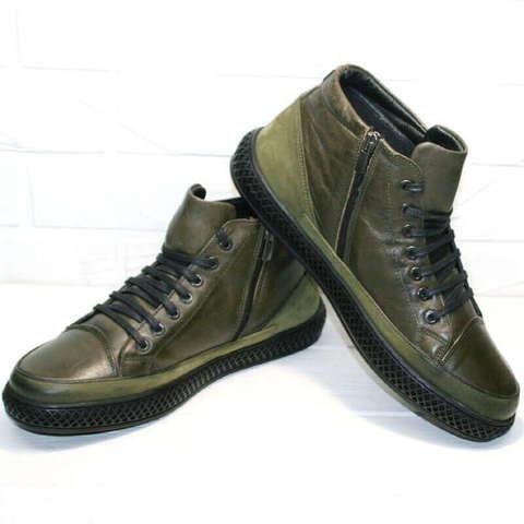 Кожаные ботинки на шнуровке round toe. Осенне зимние ботинки хаки. Модные мужские ботинки в спортивном стиле LucianoBellini-TLKhaki.