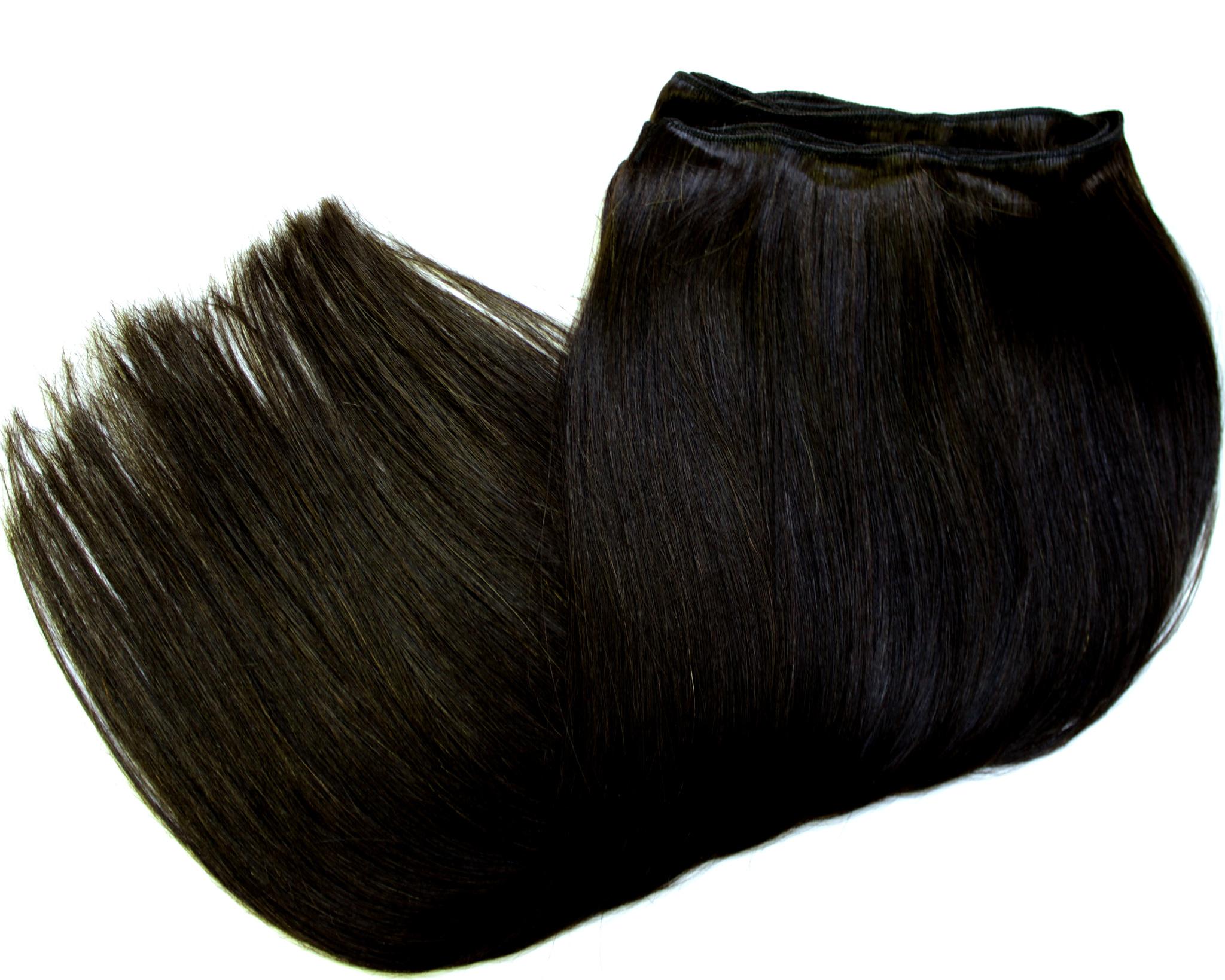 Тресс из натуральных волос длина 70 см,цвет  #1Б-темный коричневый переходящий в черный