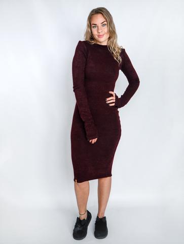 Платье шерстяное с вырезом лодочка марсала