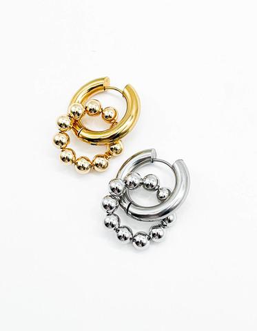 Подвеска Кольцо из бусин  6 мм / gold -silver /