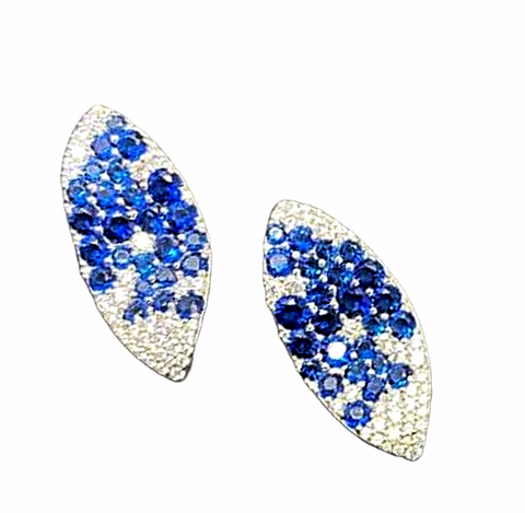 91689- Серьги GIARDINI из серебра с синими цирконами