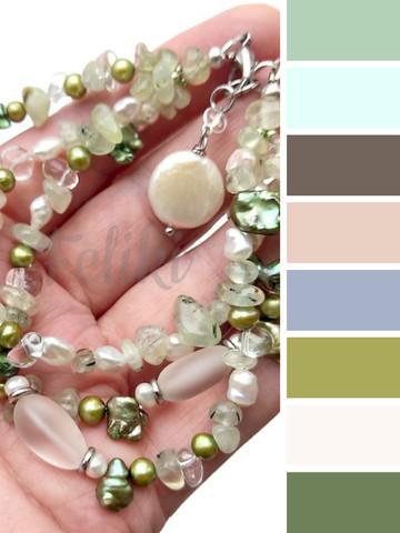 цветовая шпаргалка для одежды под браслет из натуральных камней в салатовых оттенках
