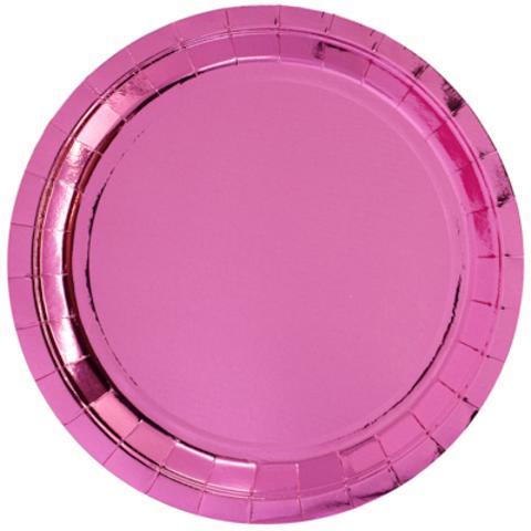 Тарелки блестящие розовые, 23см