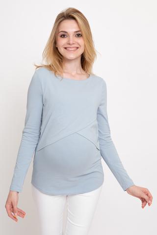 Лонгслив для беременных и кормящих 11917 голубой