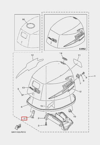 Крюк капота для лодочного мотора F20 Sea-PRO (1-4)