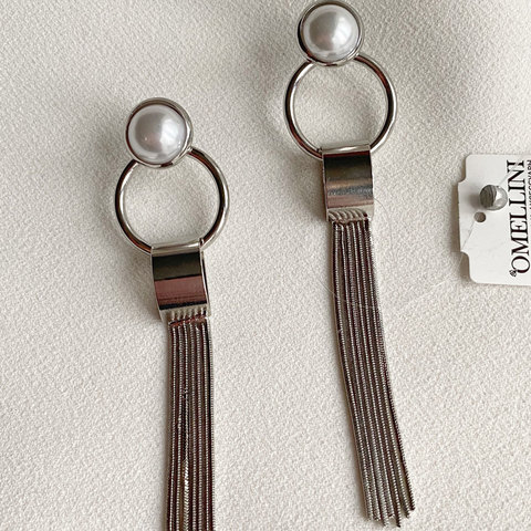 Серьги с подвесками-кисточками на кольцах (серебристый)