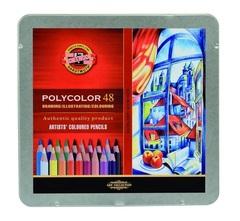 Набор художественных цветных карандашей POLYCOLOR 48 цветов в металлической коробке