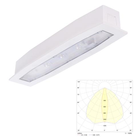Аварийный светильник встраиваемый в потолок для освещения путей эвакуации Suprema LED SCH PT IP54 Intelight – внешний вид
