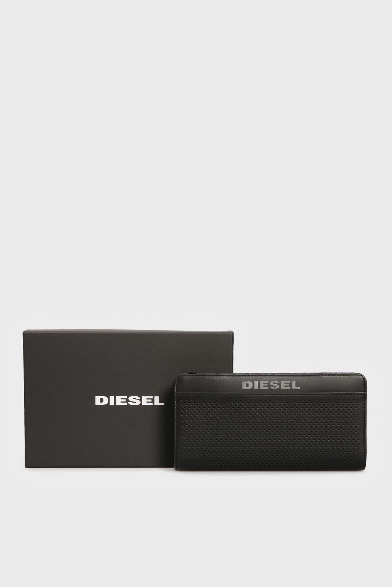 Мужской черный кожаный кошелек PERFORATO Diesel