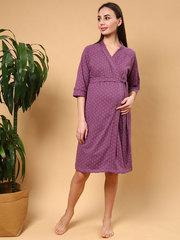 Мамаландия. Халат для беременных и кормящих на запах, звезды/бордовый