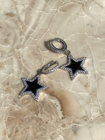 Серьги Стелла из серебра, черная эмаль
