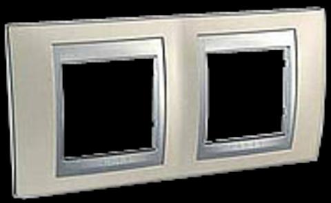 Рамка на 2 поста. Цвет Опал-алюминий. Schneider electric Unica Top. MGU66.004.095
