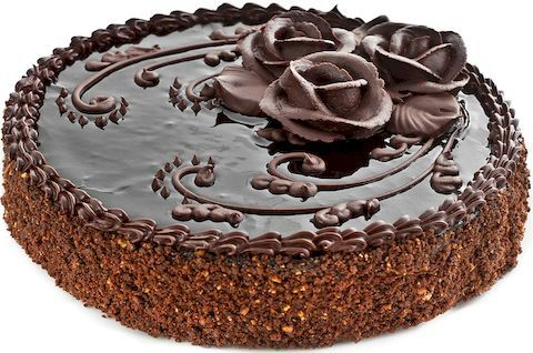 Торт Прага без глютена украшен шоколадными розами