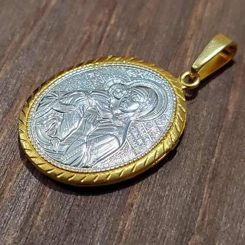 Нательная икона Божией Матери Владимирская с молитвой с позолотой кулон на шею