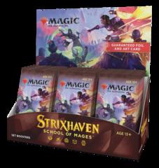 Дисплей Set Booster'ов выпуска «Strixhaven: School of Mages» (на английском)