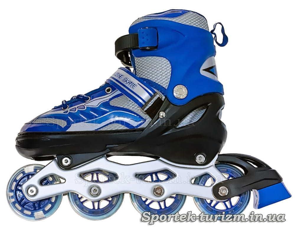 Синьо-сірі роликові ковзани для підлітків вид зліва
